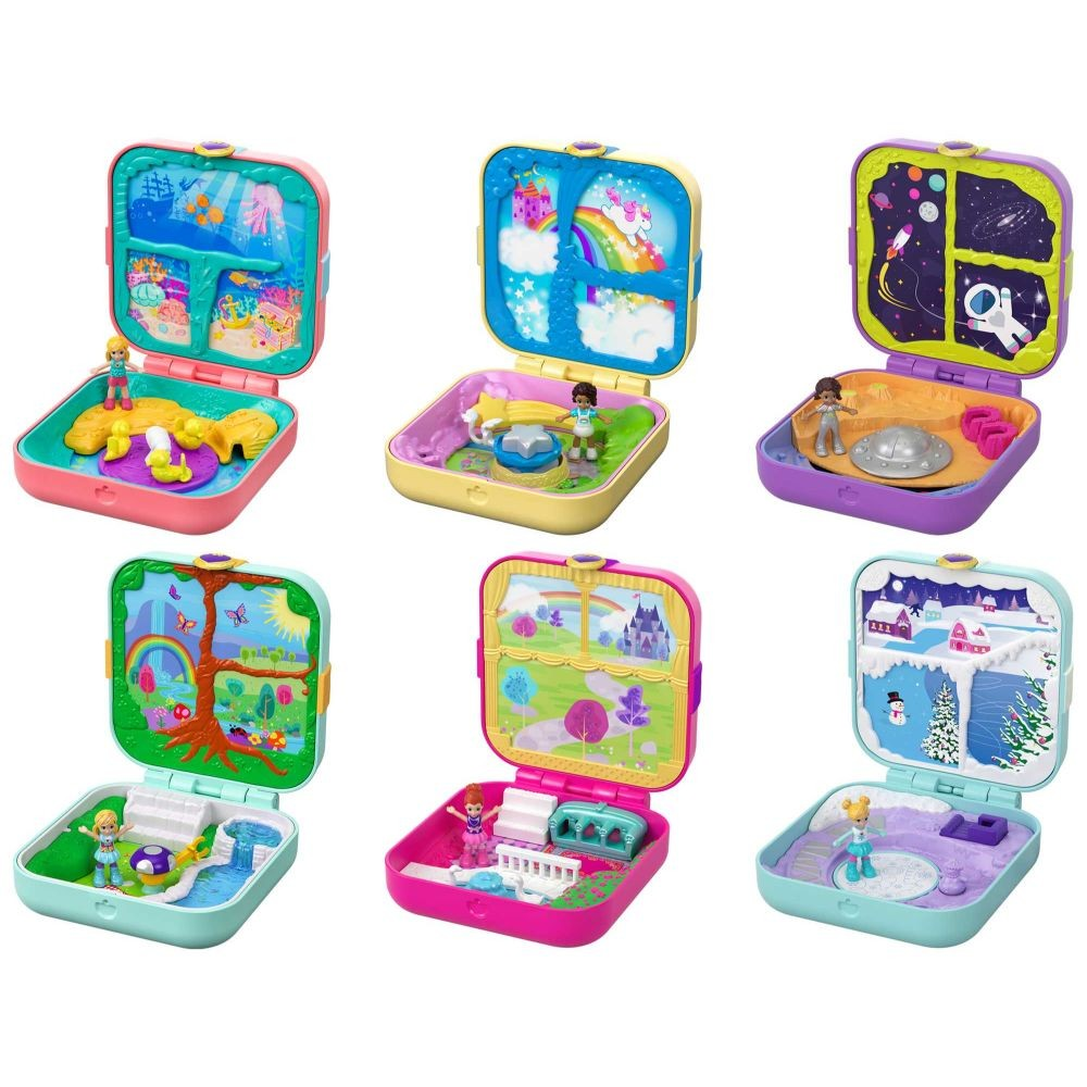 Polly Pocket Nascondigli Segreti con 3 Sorprese, 3 Accessori, 1 Micro Bambola, Assortimento Casuale, 4+Anni