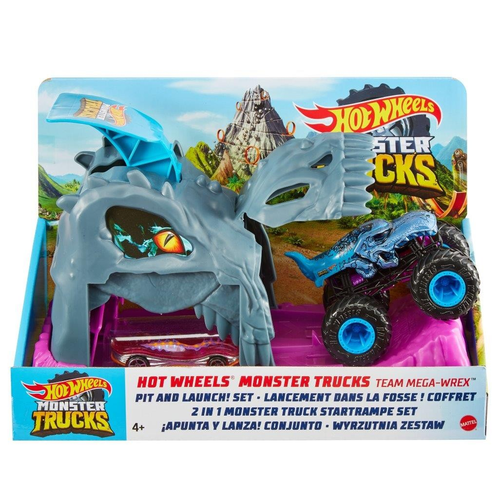 Hot Wheels Mega Wrex Lanciatore Monster Truck con Macchinina