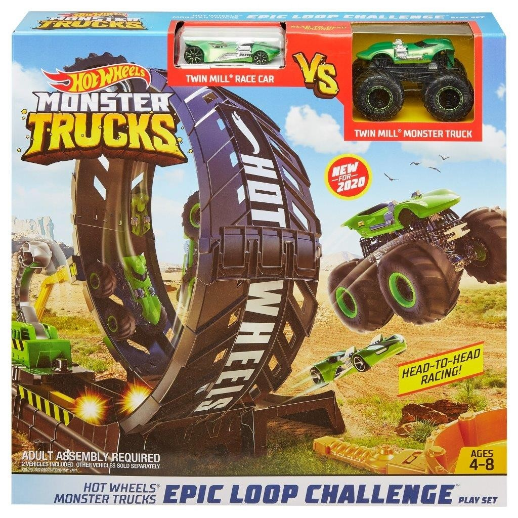 Hot Wheels Monster Truck ​Playset Sfida nel Loop con Truck e Macchinina 4+ Anni