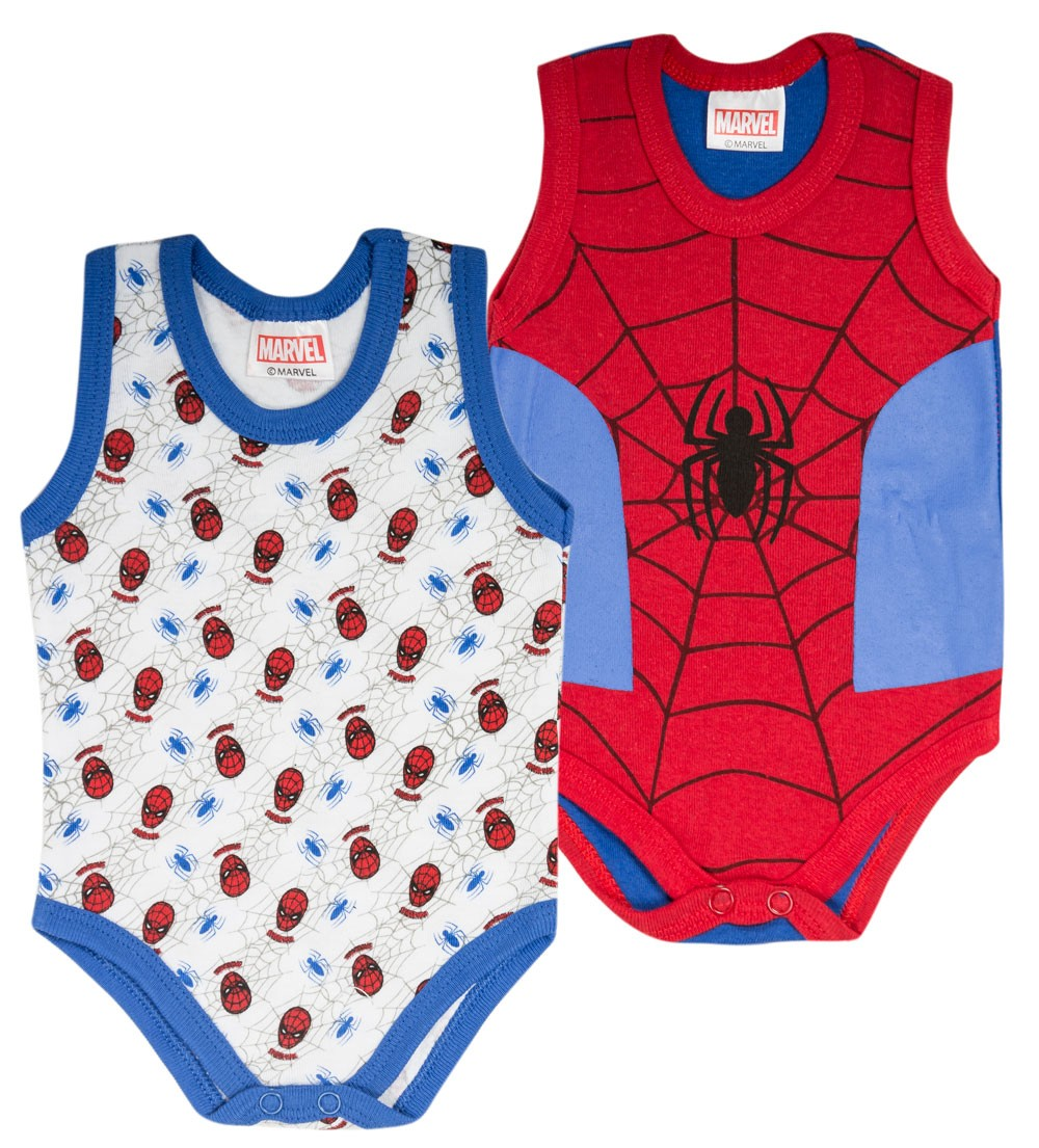 Ellepi Set di 2 Body Senza Maniche Spiderman Rosso