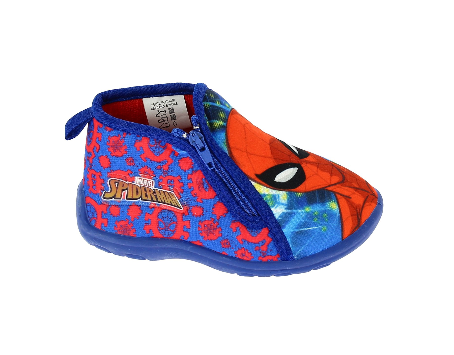 Pantofola con zip Spiderman Blu
