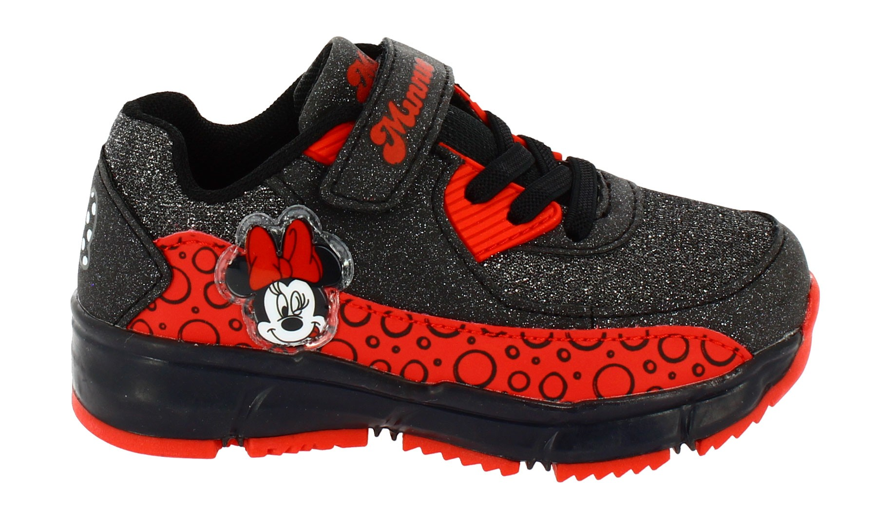 Scarpa Training Glitter Disney Minnie con Luci Nera