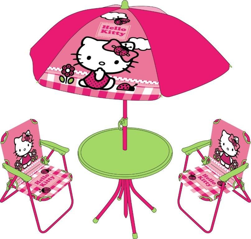 Tavolino Hello Kitty.Hello Kitty Set Tavolo E 2 Sedie Con Ombrellone