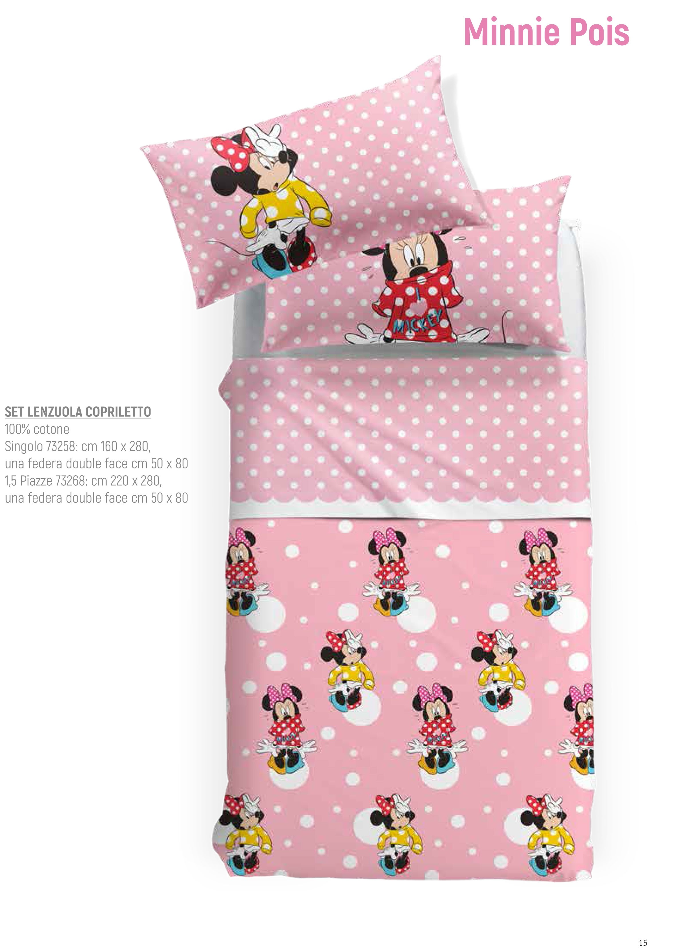 Copriletto Cotone Singolo Disney.Set Lenzuola Copriletto Disney Minnie Pois By Caleffi