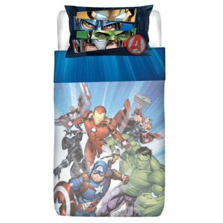 Completo lenzuola 1 piazza Avengers Blu
