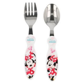 Set 2 posate in metallo Minnie Electric Doll
